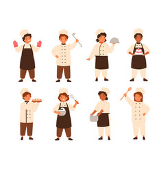 Collection of cute smiling children cooks or kids vector