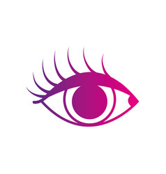 Color silhouette vision eye with eyelashes style vector