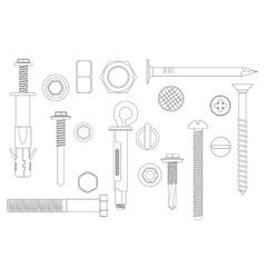 Construction hardware set bolts screws nuts vector