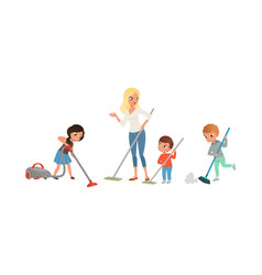 Cute kids cleaning and vacuuming floor set vector