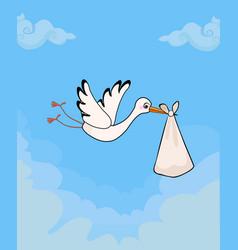 cute stork delivering baby bundle on sky vector image