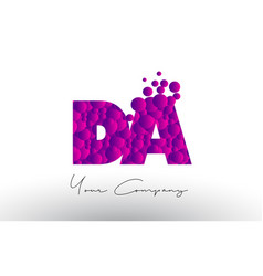 Da d a dots letter logo with purple bubbles vector