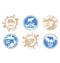 dairy vintage logos milk badges cheese vector image