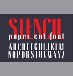 Display stencil sans serif font vector