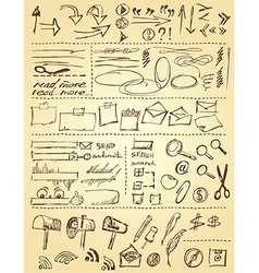 Doodles set for web site design vector