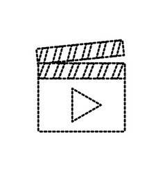 Dotted shape clapperboard with video movie studio vector
