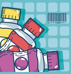 drinks in bottles super market products vector image