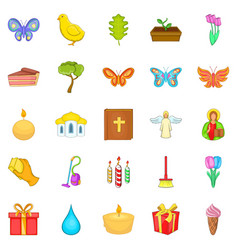 easter icons set cartoon style vector image