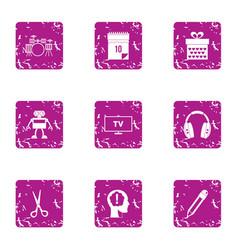 electronic music icons set grunge style vector image