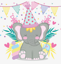 Elephant in the baby shower with party banner vector