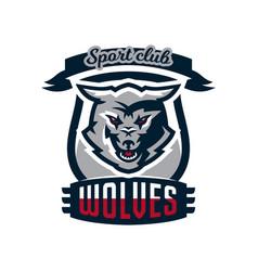 emblem logo sticker aggressive wolf ready vector image