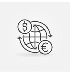 Euro to dollar convert icon vector image