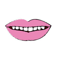 Female mouth lips teeth smile vector