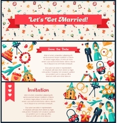 Flat design wedding and marriage invitation vector image