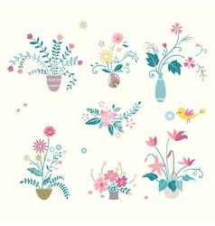 Flower and vase design vector image