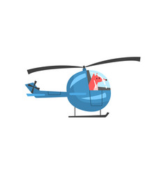 Fox piloting helicopter wild animal character vector