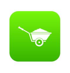 Garden wheelbarrow icon digital green vector