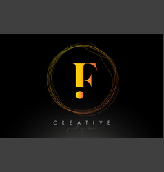 Gold artistic f letter logo design with creative vector