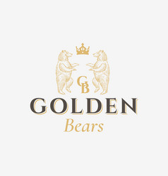 golden bears abstract sign symbol or logo vector image