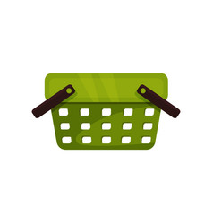 green plastic shopping basket with two black vector image