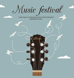 guitar neck with strings turn into white birds vector image