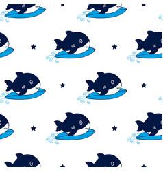 hand drawing shark pattern vector image