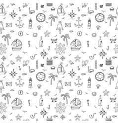 Hand drawn seamless pattern with nautical elements vector