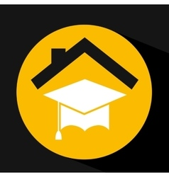 hand holding hat graduation design vector image