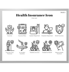 Health insurance icons line pack vector