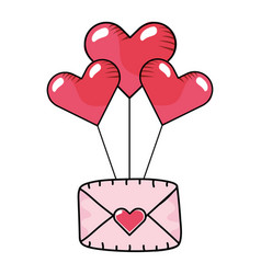 heart balloons with envelope vector image