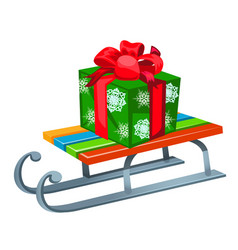 Iron sleigh with festive gift box isolated on vector