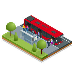 isometric red city bus at a bus stop people get vector image