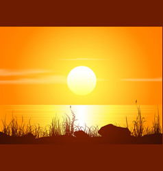 Landscape with sunset at the seashore vector image