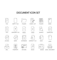 line icons set document pack vector image