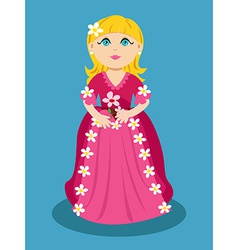 Little cartoon princess with flowers vector