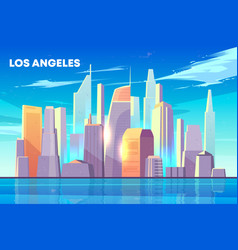 los angeles city bay skyline cartoon vector image