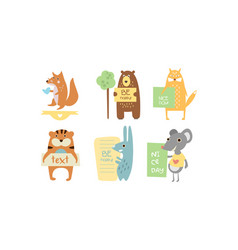 Lovely animals with banners set cute fox bear vector