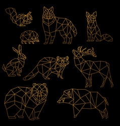 Low poly luxury golden line animals set origami vector