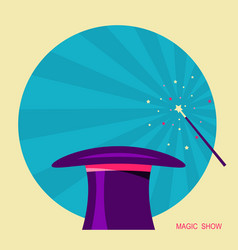 magic hat and magic wand label for design vector image