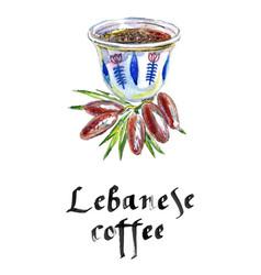 mediterranean lebanese coffee cup vector image