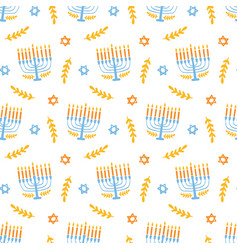 Menorah seamless pattern isolated on white vector