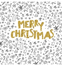 Merry Christmas gold lettering on black hand-drawn vector image