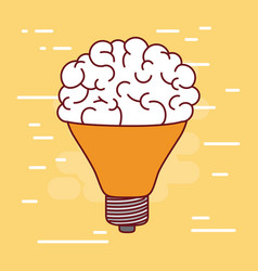 middle light bulb silhouette with brain inside and vector image