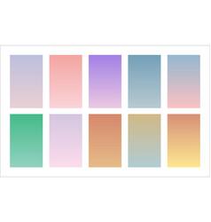 Modern soft color palette gradient backgrounds set vector