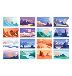 Mountain landscape set scenes nature in vector