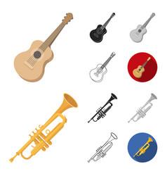 musical instrument cartoonblackflatmonochrome vector image