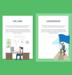 online and leadership set of posters with text vector image