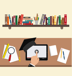 online education concept study using a tablet vector image