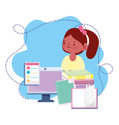 Online education student girl computer books vector