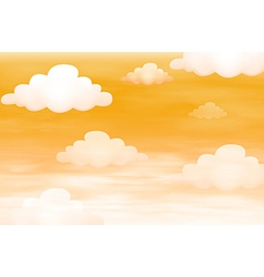 Orange sky with clouds vector image